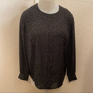 NWT Ava and Viv festive LS blouse. Black & gold OX